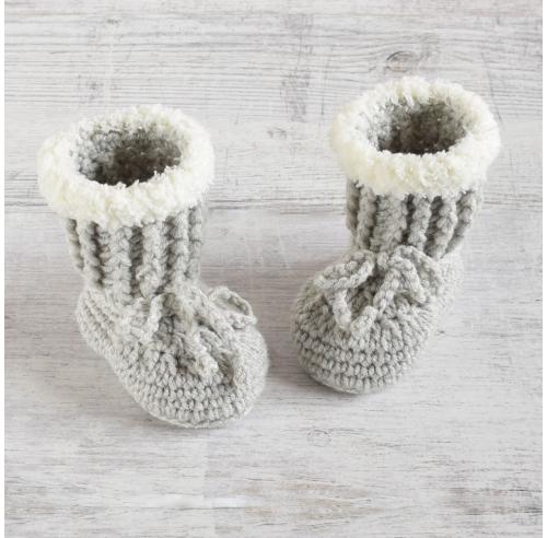 Buciki szydełkowe - kozaczki niemowlęce - handmade - ALOM