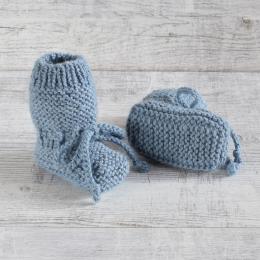 Buciki niemowlęce - kozaczki - robione ręcznie na drutach - ALOM
