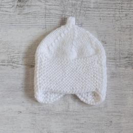Czapeczka niemowlęca - z nausznkami - wyprzedaż - handmade - ALOM