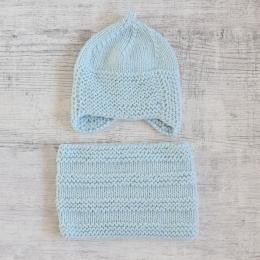 Komplet niemowlęcy - czapka i komin - wyprzedaż - handmade - ALOM