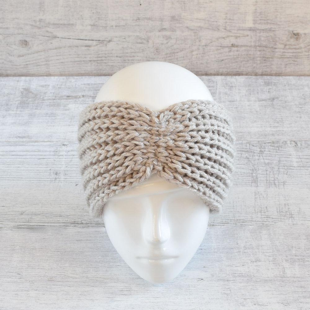 Opaska na uszy - szeroka - boho - robiona ręcznie na drutach - ALOM