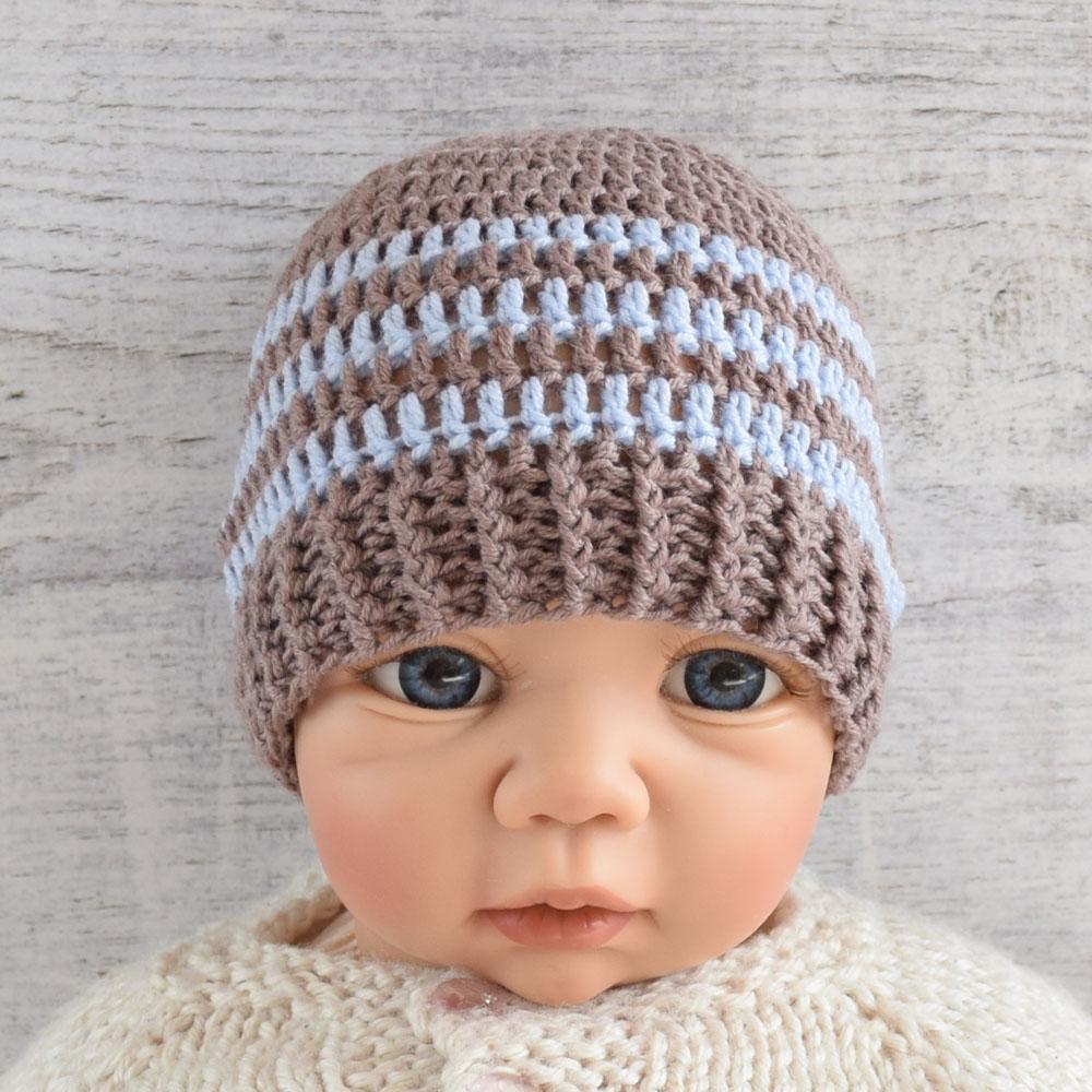 Czapeczka szydełkowa dla chłopca - newborn - sesja foto - handmade - ALOM