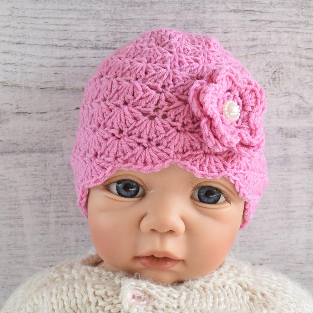 Czapka niemowlęca z kwiatem- ręcznie robiona na szydełku - róż - ALOM