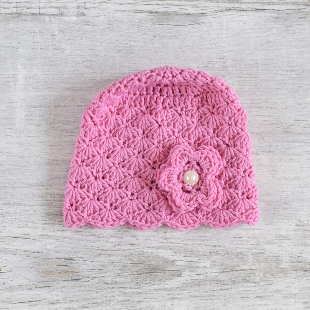 Szydełkowa czapeczka dla dziewczynki - wiosna - chrzest - wyprzedaż - ALOM