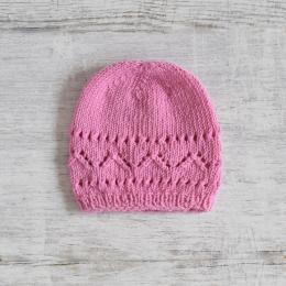 Ażurowa czapeczka niemowlęca - dla dziewczynki - robiona ręcznie na drutach - ALOM