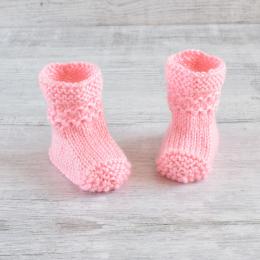 Buciki niemowlęce - kozaczki - robione ręcznie na drutach - wyprzedaż - ALOM