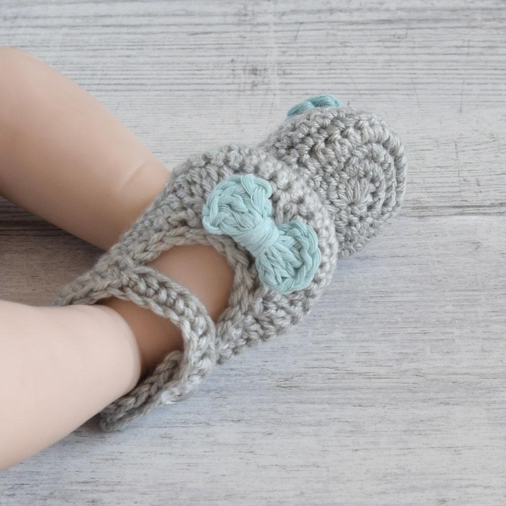 Buciki niemowlęce - balerinki - zrobione ręcznie na szydełku - ALOM