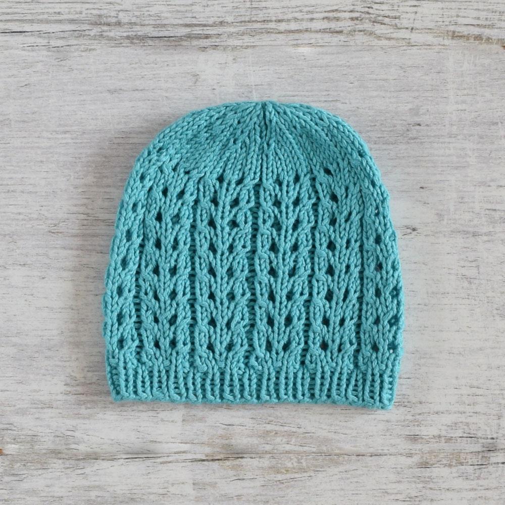 Ażurowa czapeczka - handmade - robiona na drutach - wyprzedaż - ALOM