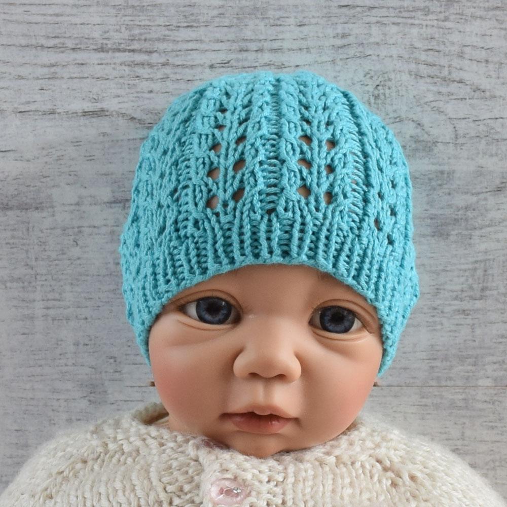 Czapka niemowlęca - bambus i bawełna - turkus - rękodzieło - ALOM