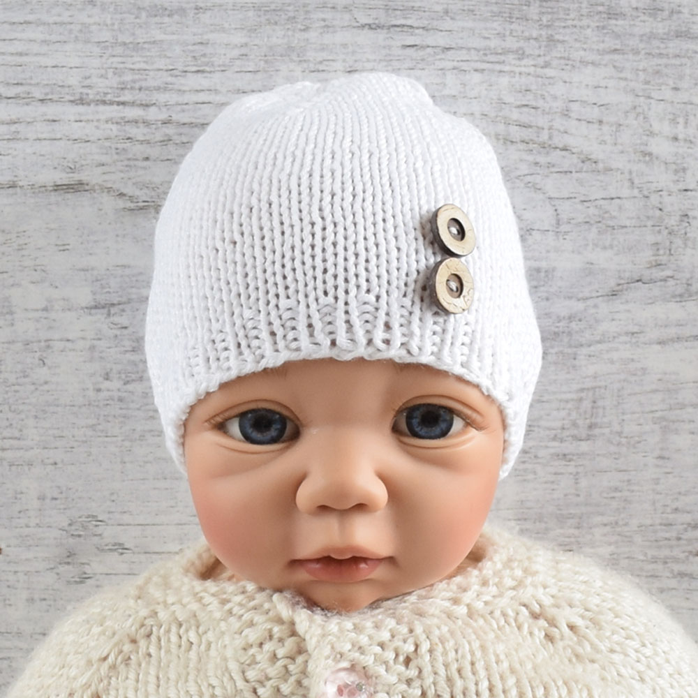 Czapka niemowlęca - bambus i bawełna - biała - rękodzieło - chrzest - ALOM
