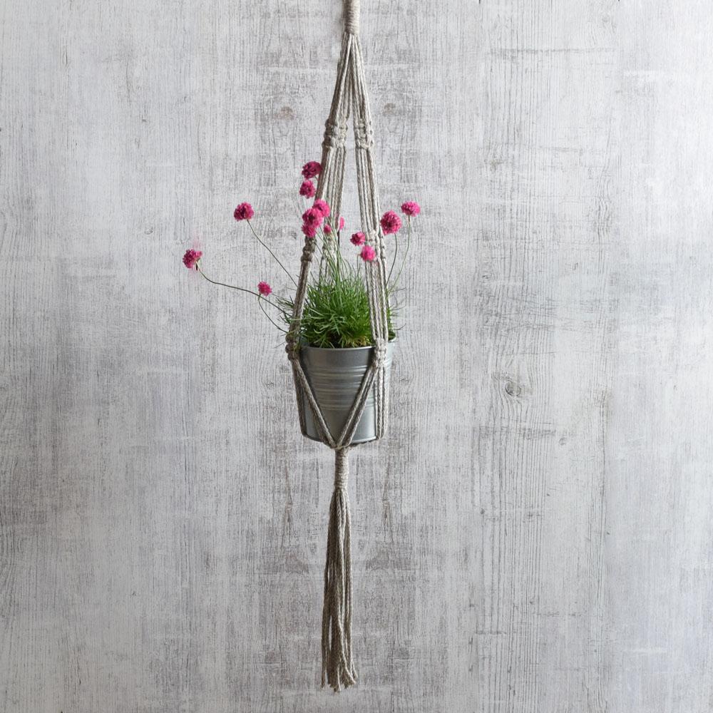 Kwietnik pleciony ze sznurka - dekoracja boho - rękodzieło - ALOM