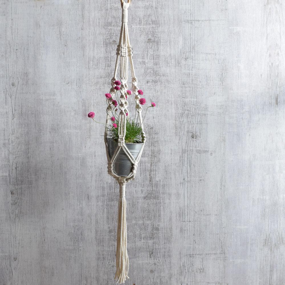 Kwietnik wiszący ze sznurka - makrama dekoracja boho - handmade - ALOM