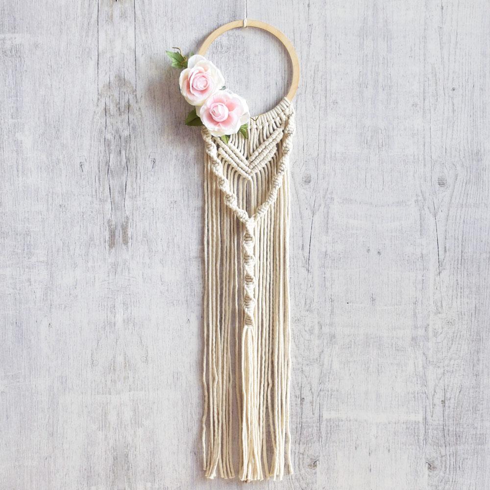 Obręcz dekoracyjna - ręcznie robiona ozdoba boho - na prezent - rękodzieło - ALOM