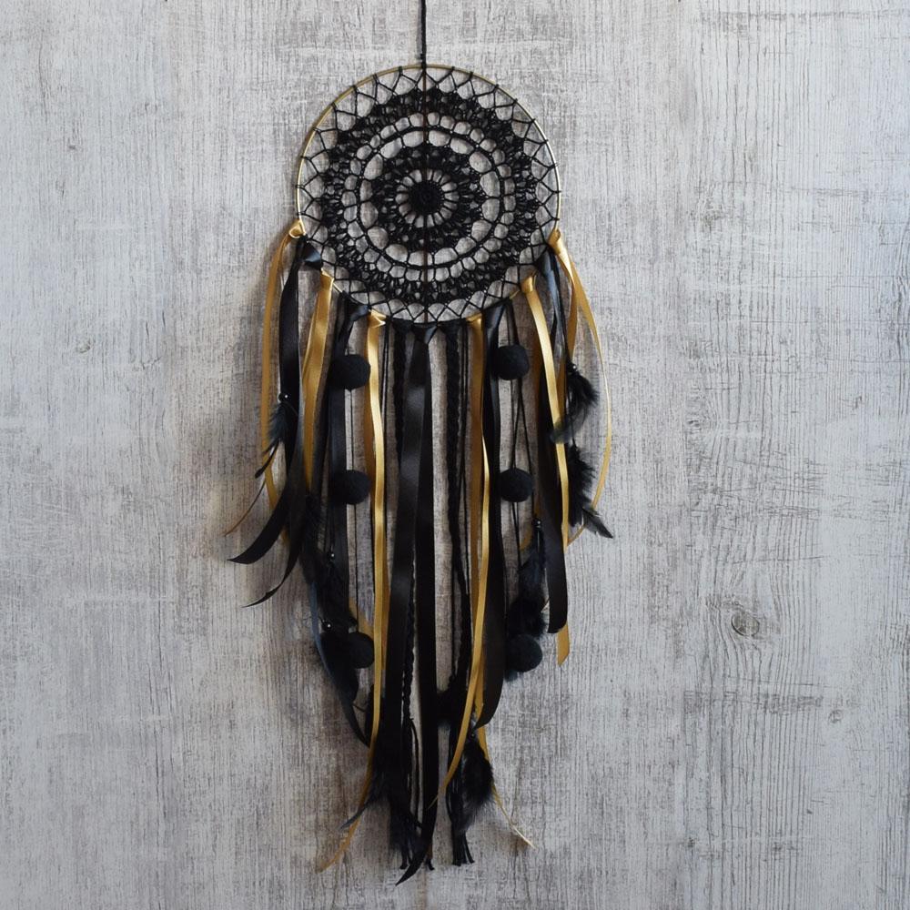 Koronkowy łapacz snów - dekoracja boho - czarny, złoty - ALOM