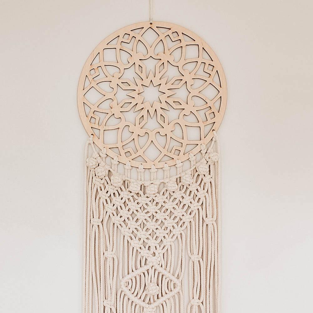 Drewniany łapacz snów - makrama - handmade - ALOM