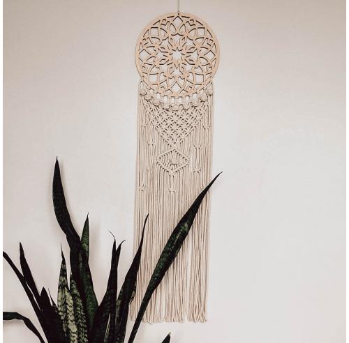 Ręcznie robiony łapacz snów - makrama - dekoracja z drewna i sznurka - ALOM