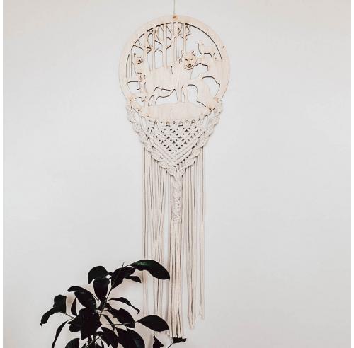 Ręcznie robiony drewniany łapacz snów - makrama ze sznurka - ALOM