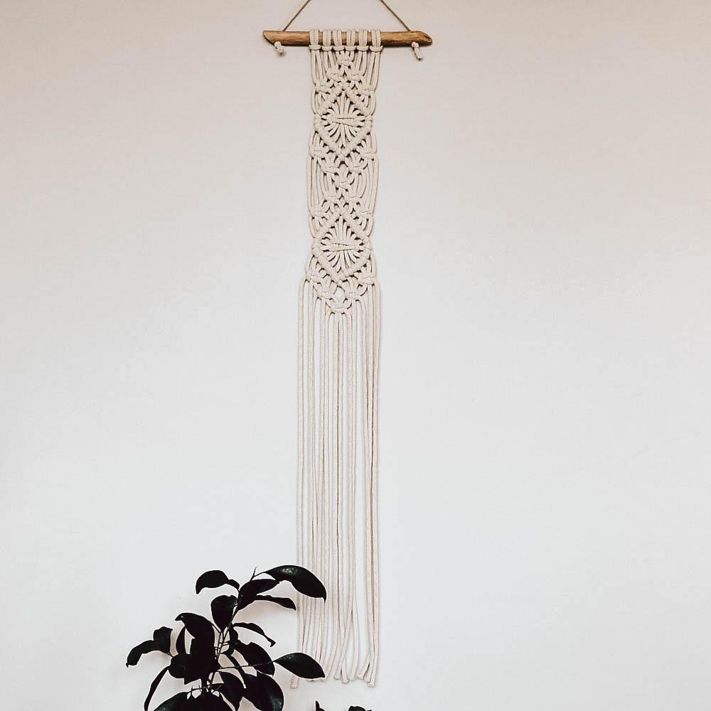 Makrama ścienna ze sznurka bawełnianego - dekoracja ręcznie robiona - ALOM