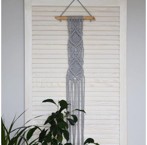 Mała makrama na ścianę - dekoracja boho - handmade - szary - ALOM