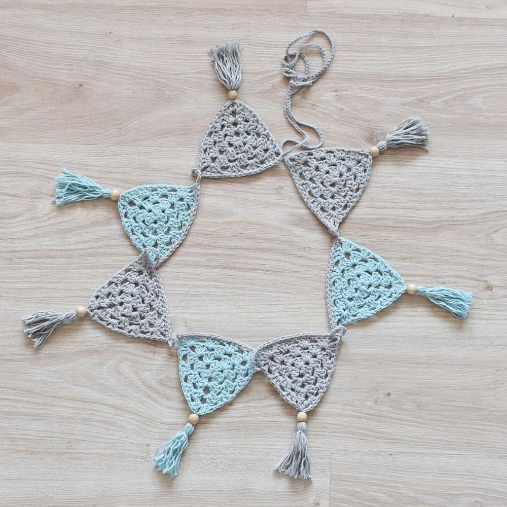 Girlanda handmade w stylu skandynawskim - polskie rękodzieło - szary i mięta - ALOM