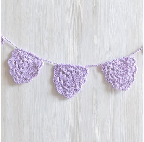 Girlanda dla dziewczynki - fioletowa - dekoracja vintage - rękodzieło - ALOM