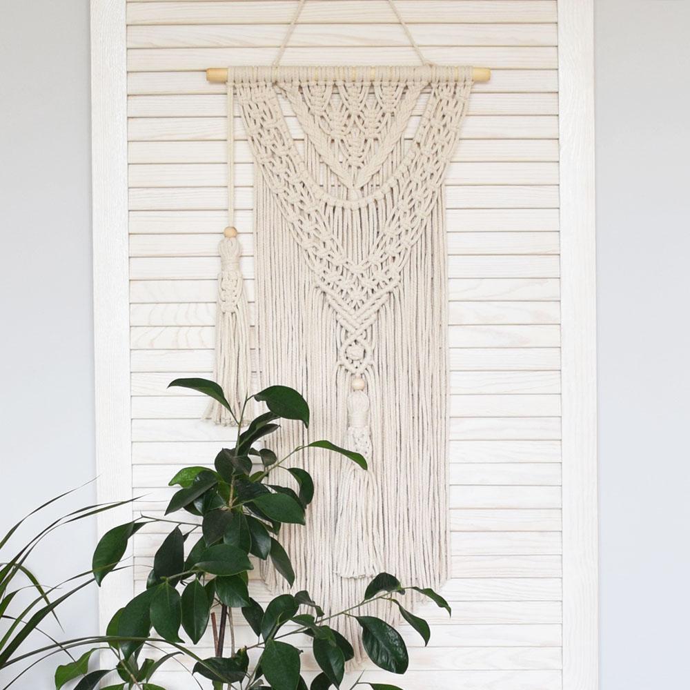 Boho makrama - dekoracja na ścianę - ozdoba ze sznurka - rękodzieło - ALOM