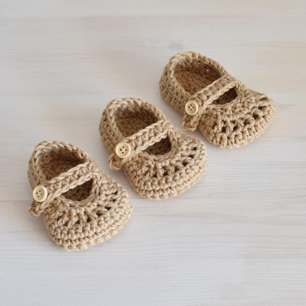 Szydełkowe buciki niemowlęce - chrzest - handmade - ALOM