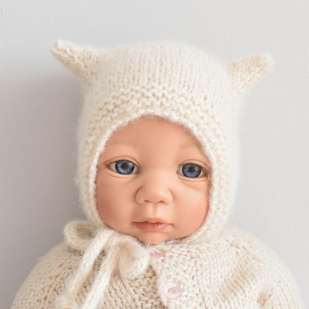 Bonetka kotek - kitty hat - alpaca blend - handmade - ALOM