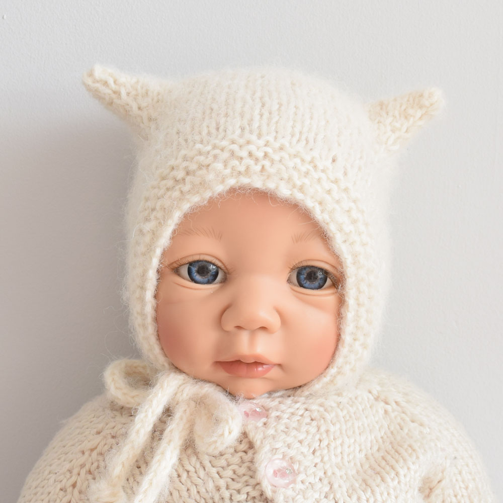 Kitty hat - toddler knit bonnet  - alpaca blend - handmade - ALOM