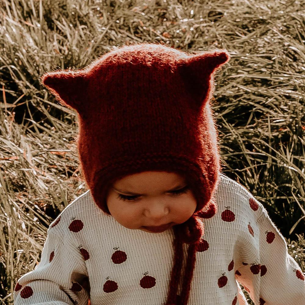Czapka bonetka - KOTEK - czapeczka dla dziecka - polskie rękodzieło - ALOM