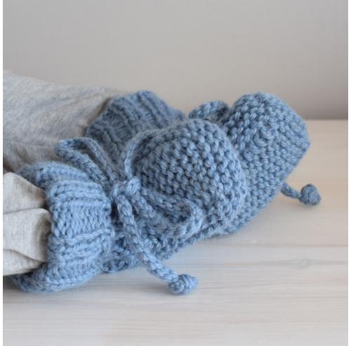 Buciki niemowlęce - wełniane kozaczki - robione ręcznie na drutach - ALOM