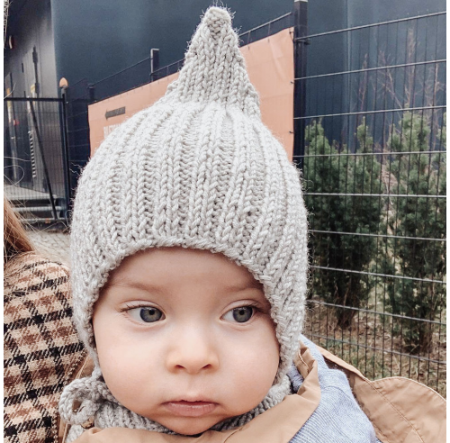Bonetka NILS - czapeczka niemowlęca - wełna merino - handmade - ALOM