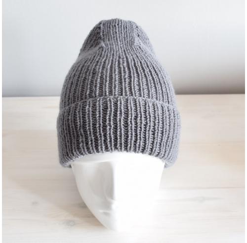 Wełniana czapka - szara beanie - handmade - ALOM