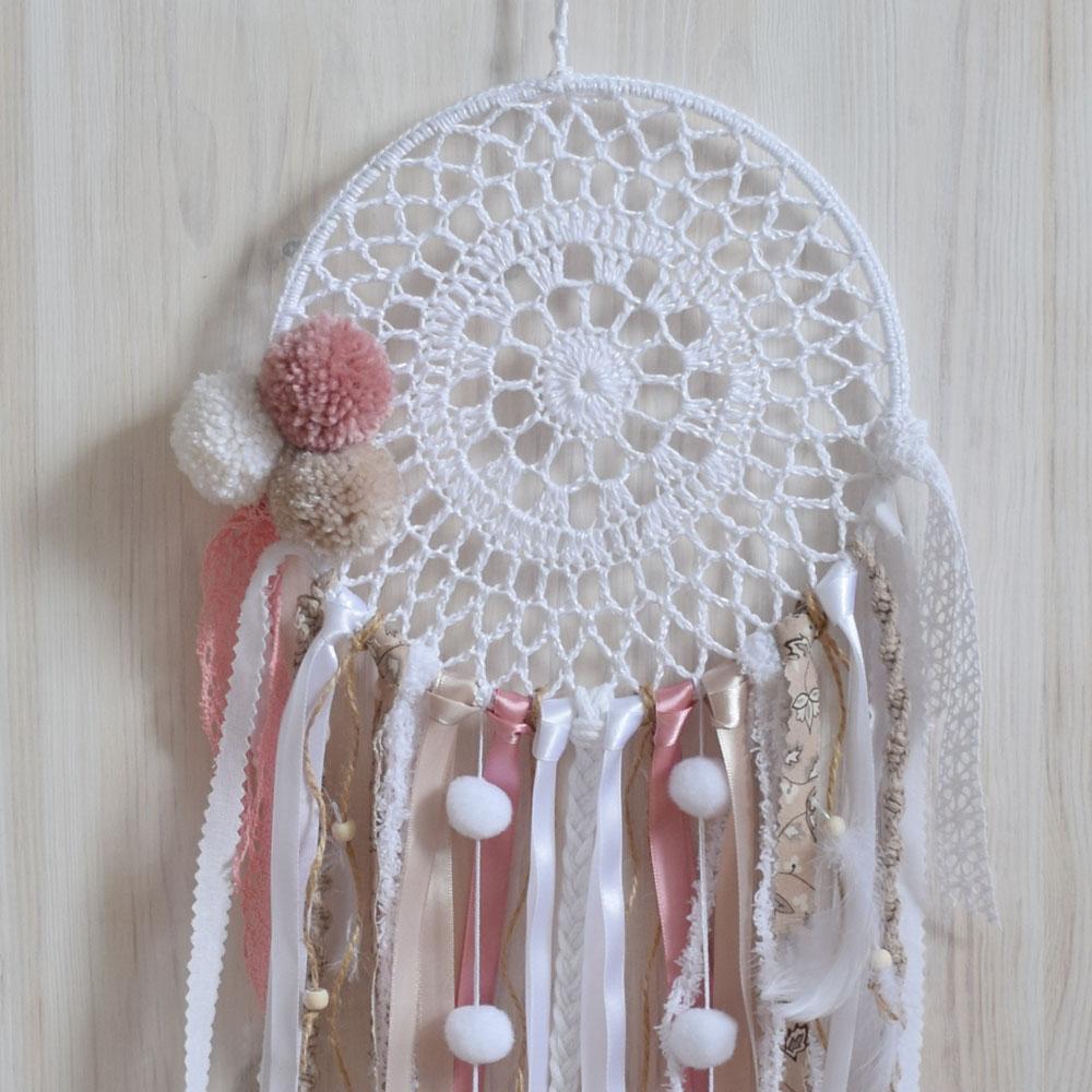 Łapacz snów z pomponami - prezent dla dziecka - handmade - ALOM
