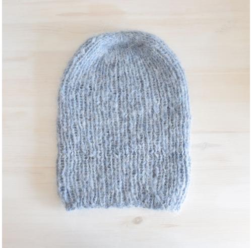 Wełniana czapka beanie - efekt moheru - handmade - ALOM