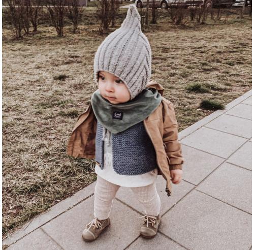Czapka dziecięca - elf - wełniana bonetka - rękodzieło - ALOM