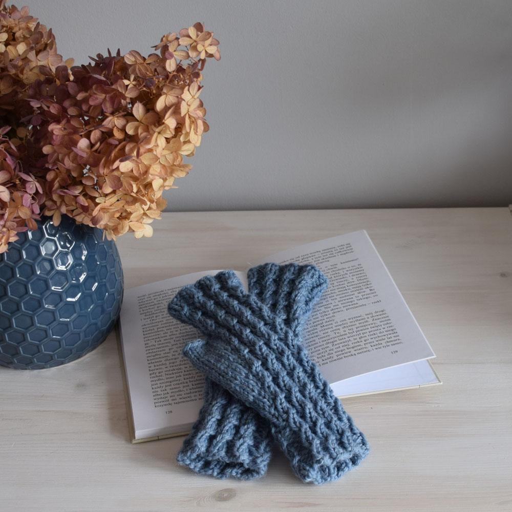 Mitenki - rękawiczki bez placów - niebieskie - handmade -  ALOM
