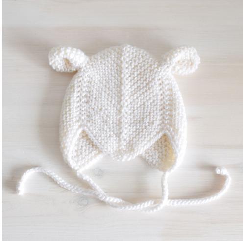 Czapka niemowlęca z uszkami - vintage - robiona ręcznie na drutach - ALOM