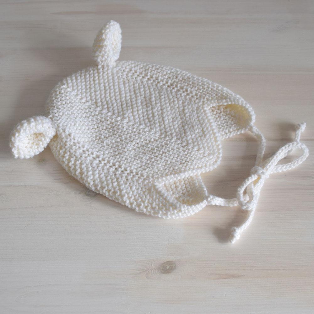 Czapeczka z uszkami - miś - zrobiona ręcznie na drutach - merino blend - ALOM
