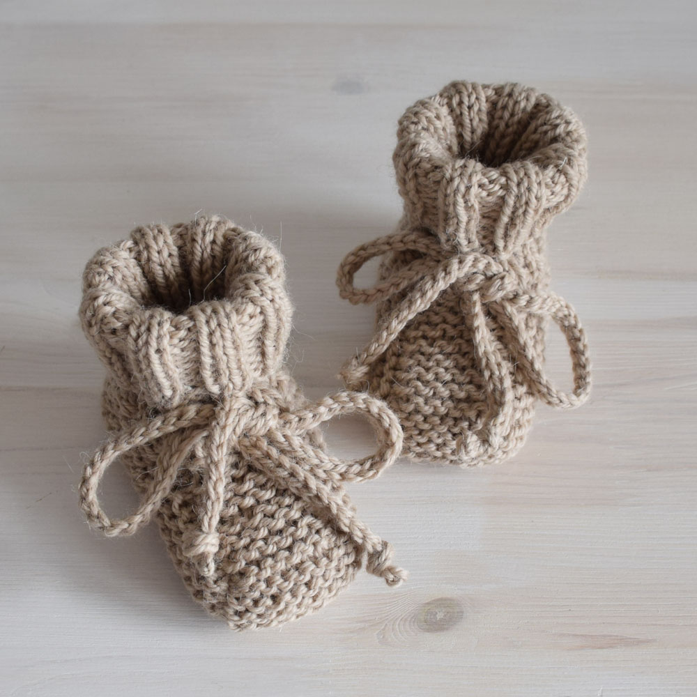 Buciki niemowlęce - kozaczki - wełna z alpaką - rękodzieło - ALOM