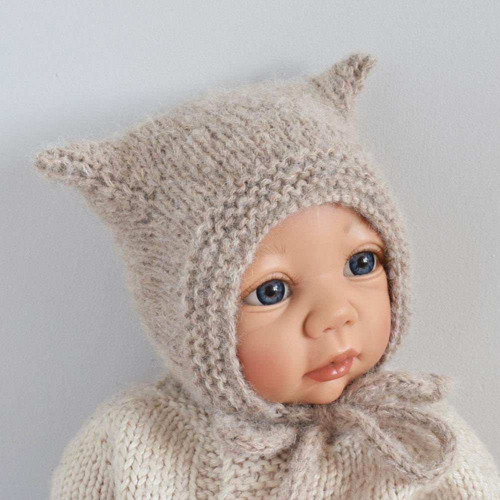 Bonetka kotek - kitty hat - alpaca blend - handmade - beż - ALOM