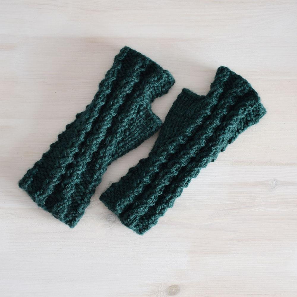 Krótkie mitenki z wełną - rękawiczki bez palców - polskie rękodzieło - ALOM