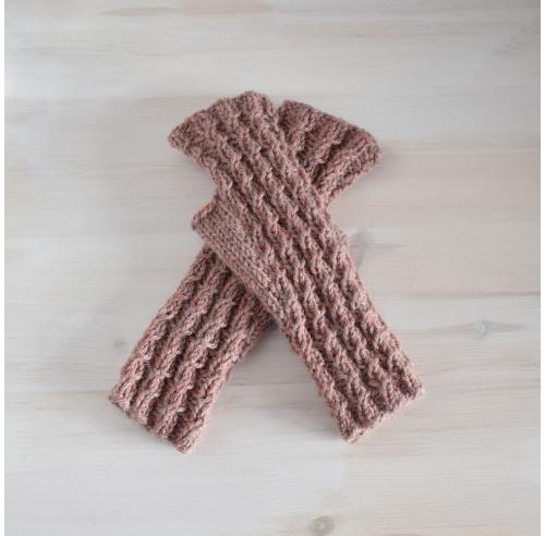 Mitenki z warkoczami - ręcznie robione na drutach - wełniane rękawiczki - ALOM