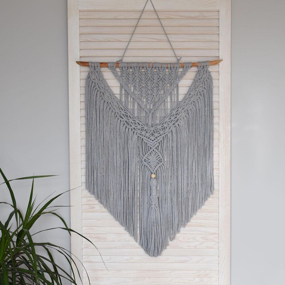 Makrama na ścianę - szara dekoracja ze sznurka - rękodzieło - ALOM