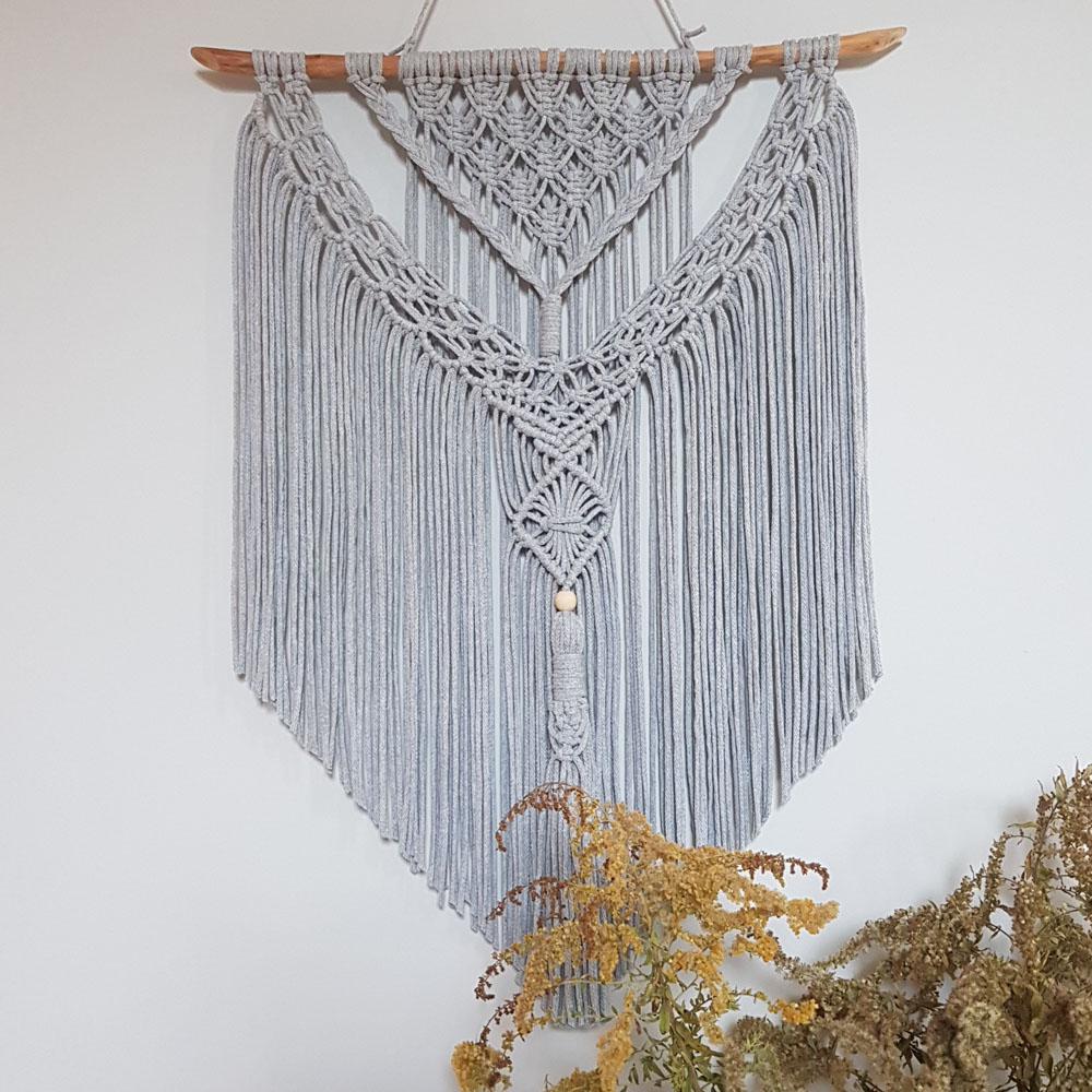 Makrama ścienna - ozdoba w stylu boho - vintage - handmade - ALOM