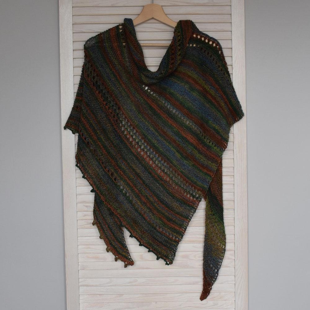 Wełniany szal - duża, dziergana chusta  -- handmade - ALOM