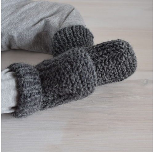 Wełniane buciki - skarpetki niemowlęce - robione ręcznie na drutach - ALOM
