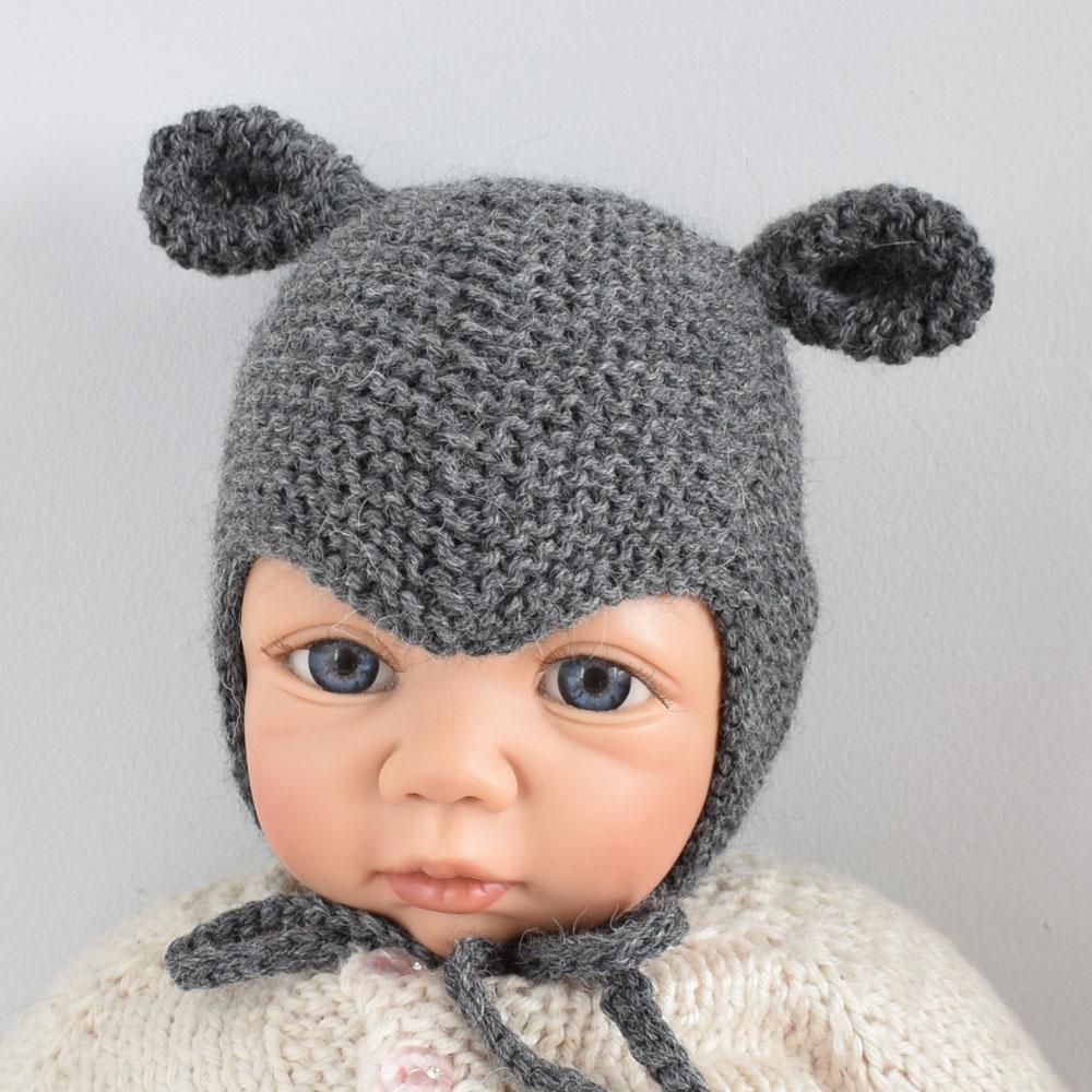 Czapka niemowlęca TOVE - wyprawka - z uszami - rękodzieło - ALOM