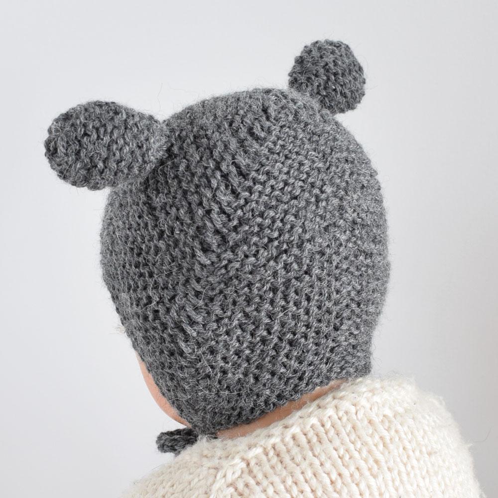 Wełniana czapka bonetka - z uszkami - miś - rękodzieło - ALOM