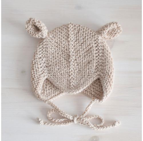 Czapeczka niemowlęca - z nausznikami - wełna i alpaka - rękodzieło - ALOM